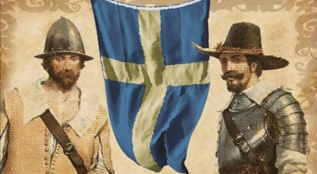 An illustration of two Sweden explorers with the Swedish flag between them