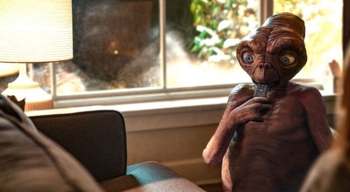 E.T. eating a remote control - although his favourite is M&Ms