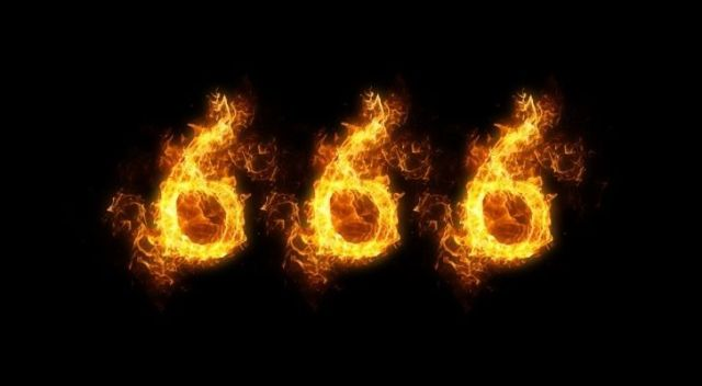 The number 666 on fire