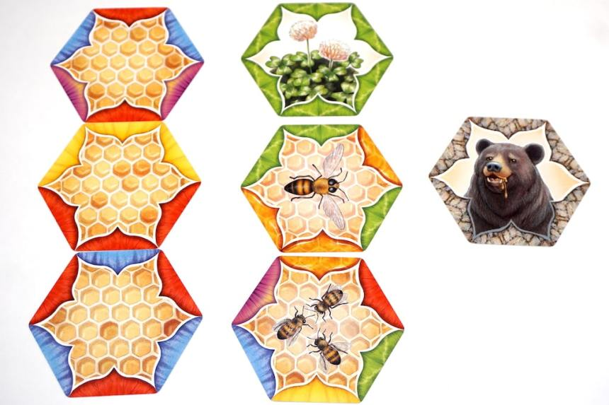 Honeycomb cards, bee cards, flower card, and bear card