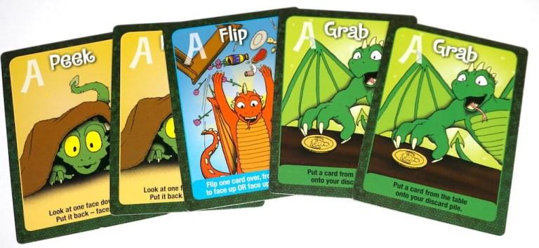 Five cards: Peek, Peek, Flip, Grab, Grab