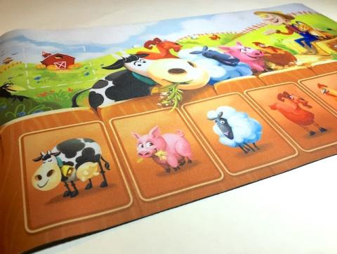 Neoprene playmat picturing cow, pig, sheep, goat, etc.