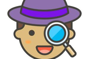Illustrated child's face, wearing fedora and holding a magnifying glass