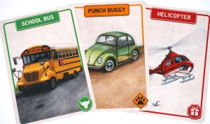 School Bus, Punch Buggy, Helicopter