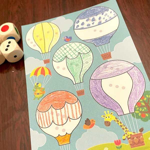 Balloon coloring sheet. Red balloon has vertical stripes, green balloon is cross-hatched, blue balloon has polka dots.