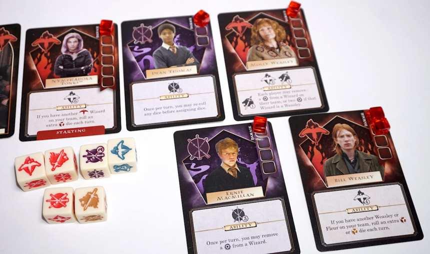 A team of wizards: Nymphadora Tonks, Dean Thomas, Molly Weasley, Ernie MacMillan, and Bill Weasley