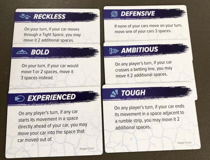 power cards from Danger Circuit: Reckless, Bold, Experienced, Defensive, Ambitious, Tough.