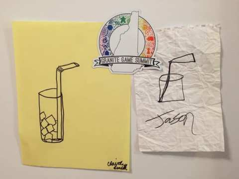 drawings of straws in cups