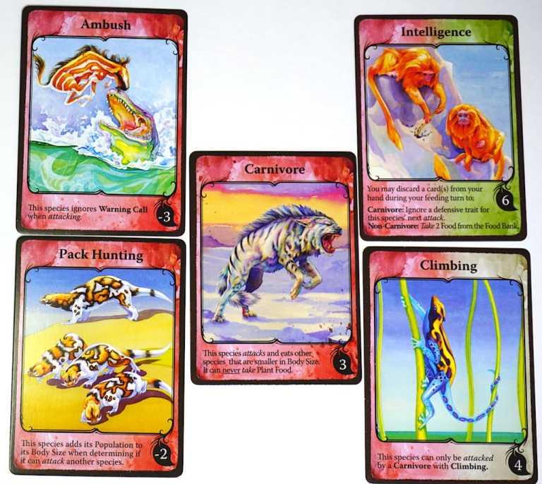 Trait cards: Ambush,  Intelligence, Pack Hunting, Carnivore, Climbing