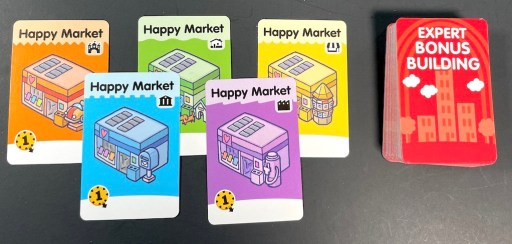 Happy Market cards in 5 colors