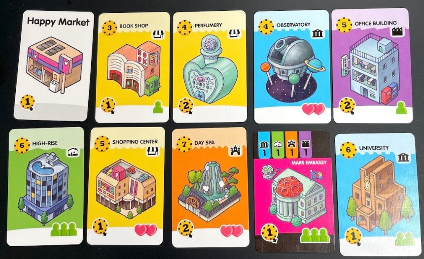 Complete city: Happy Market, Book Shop, Perfumery, Observatory, Office Building, High-Rise, Shopping Center, Day Spa, Mars Embassy, University