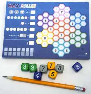 Empty scoresheet, 8 dice, and a pencil