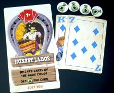 Honest Labor card, with a blue King and a blue 7. 4 money bag tokens.