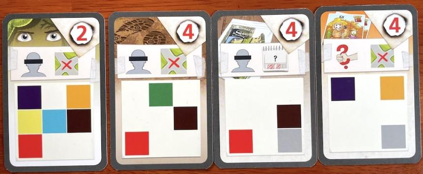 Four clue cards from The Key: Sabotage at Lucky Llama Land