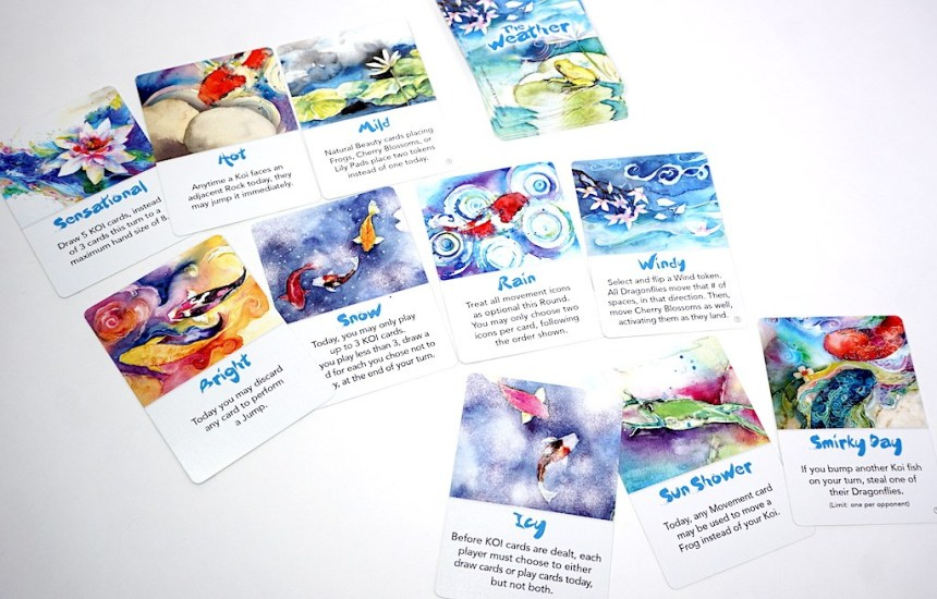 Weather cards. First row: Sensational, Hot, Mild. Second row: Bright, Snow, Rain, Windy. Third row: Icy, Sun Shower, Smirky Day.