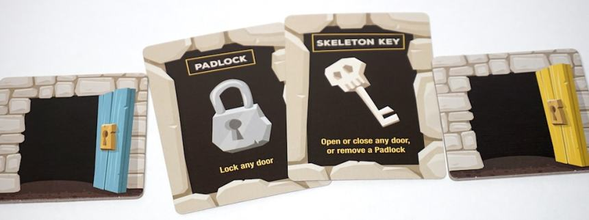 two open doors, a padlock, and a skeleton key