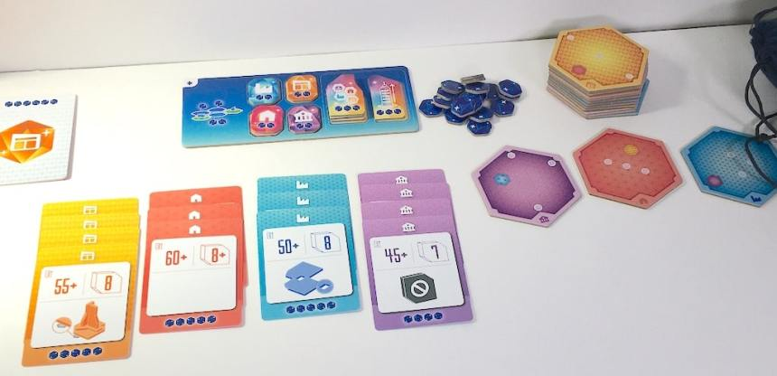 stacks of cards and tiles in MegaCity Oceania