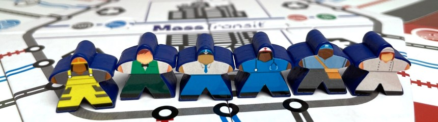 Mass Transit meeples with stickers
