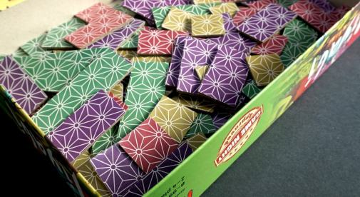 MIyabi box lid full of face-down tiles