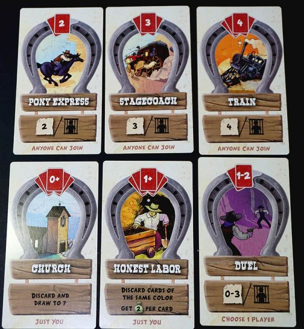Large cards showing each possible action: Pony Express, Stagecoach, Train, Church, Honest Labor, Duel