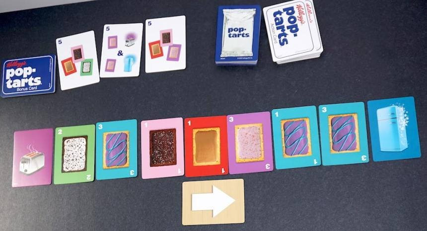 From left to right: toaster card, 7 Pop-tarts cards, freezer card