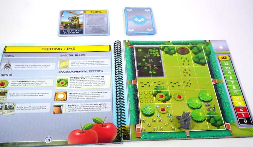 Quirky Circuits scenario book, open to page titled Feeding Time with Twirl the gardner bee robot.