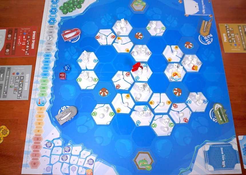 board setup with ice tiles, bears, ships, etc.