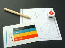 card, pencil, die, drawing