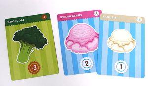 Broccoli, Strawberry ice cream, Vanilla ice cream