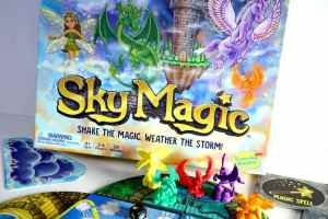 Sky Magic box, figures, and board
