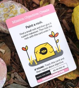 Paint a rock. Find a small rock and then give it a paint makeover. Then hide the rock with this card under it.