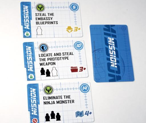 Spymaster mission cards: Steal the Embassy Blueprints, Locate and Steal the Prototype Weapon, Eliminate the Ninja Monster