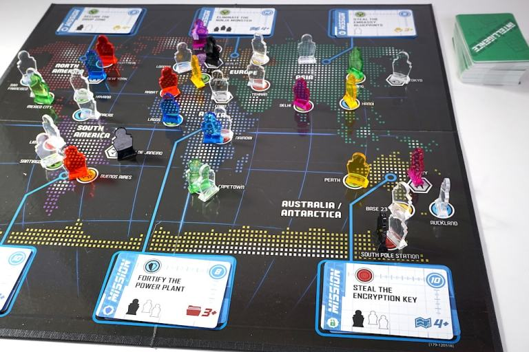 Spymaster board covered with agent meeples