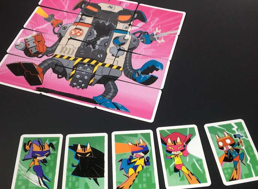 five super cats face down the 12-card robot dog