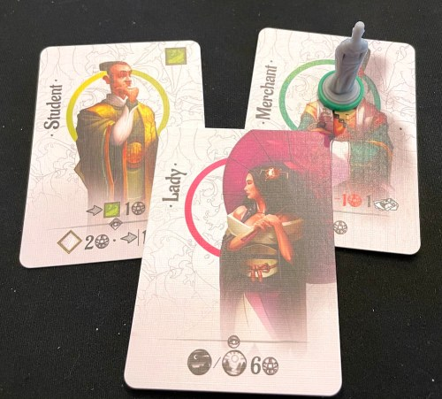 Character cards: Student, Lady, Merchant