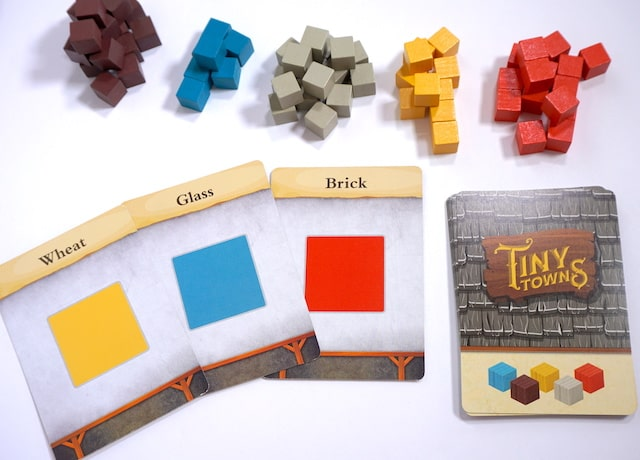 Resource cards: Wheat (yellow), Glass (blue), Brick (red)