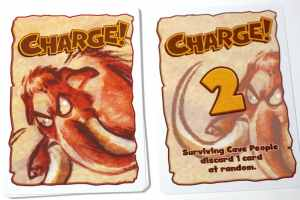 Wooly Whammoth Charge! card: 2. Surviving Cave People discard 1 card at random