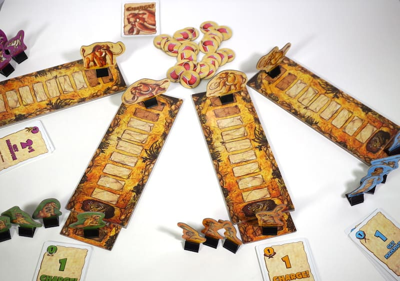 4 hunting path boards. A mammoth stands at the end of each, and a tribe of 4 hunters stands at the beginning of each.