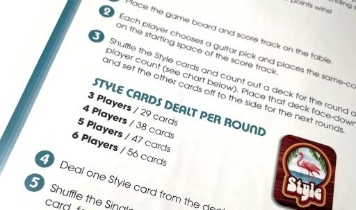 Style cards dealt per round: 3 players / 29 cards 4 players / 38 cards 5 players / 47 cards 6 players / 56 cards