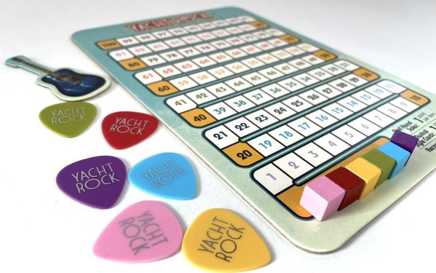 Yacht Rock scoreboard and guitar pick player markers