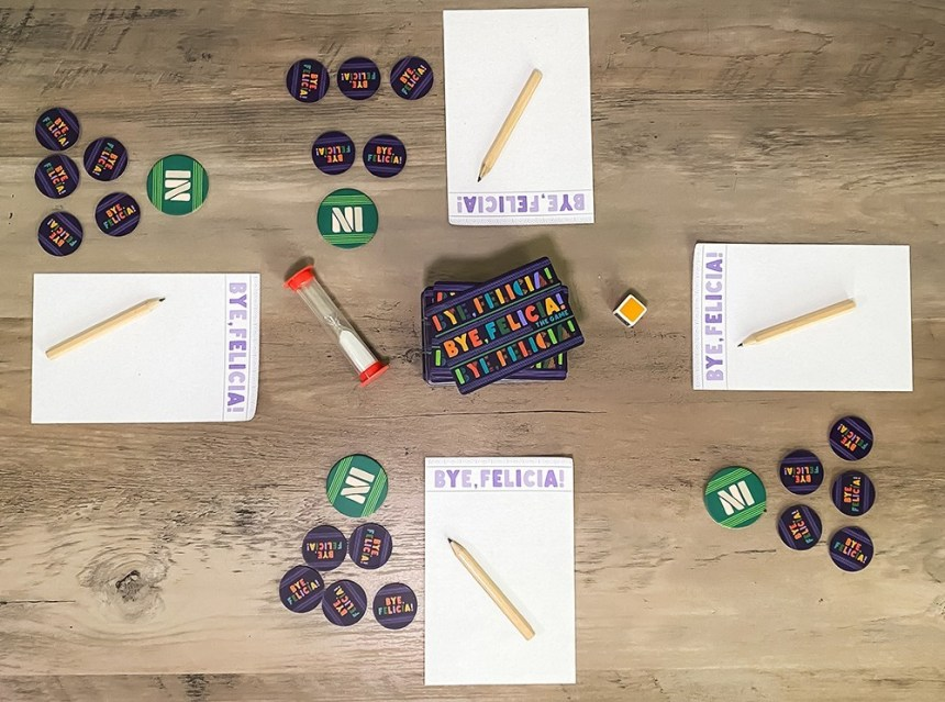 paper, pencils, and poker chips, all imprinted with Bye Felicia!