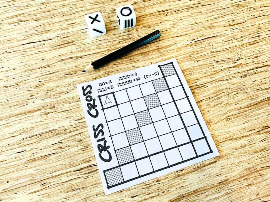 Two dice, a pencil, and a scoresheet