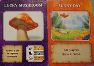 Lucky Mushroom : Re-roll 1 die in capture attempts | Sunny Day: All players draw 2 cards