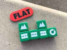 3 road dice with 2 attached landmarks, flat tire at the end of the row