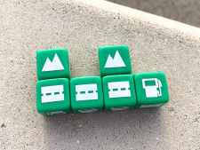dice: road with landmark, road, road with landmark, gas station