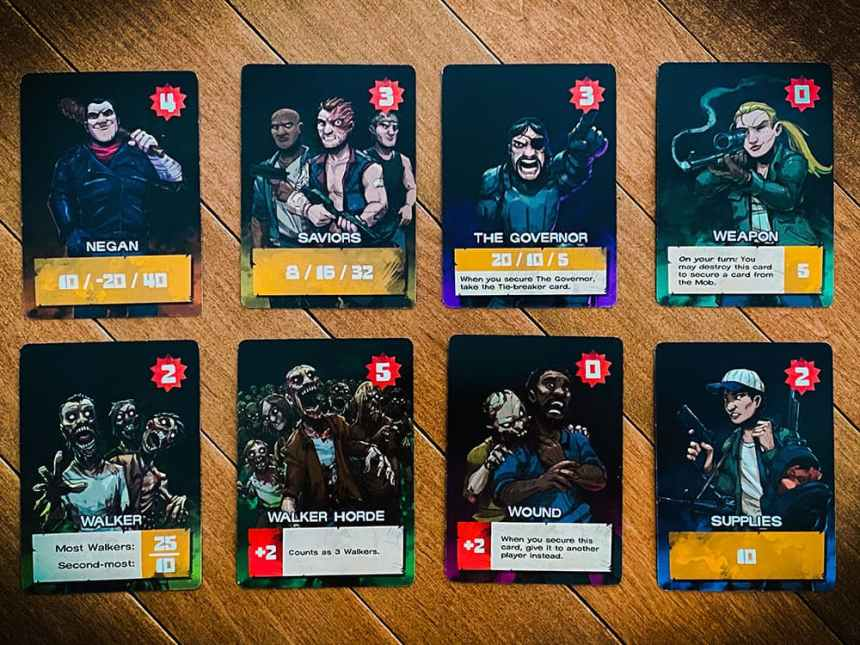 8 Cards: Negan; Saviors; The Governor; Weapon; Walker; Walker Horde; Wound; Supplies.
