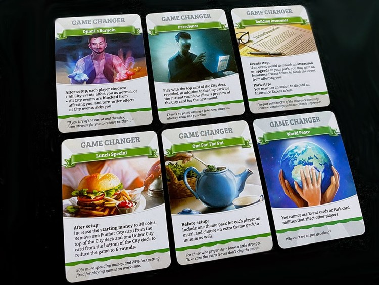 Game Changer cards: Djinni's Bargain, Prescience, Building Insurance, Lunch Special, One for the Pot, and World Peace