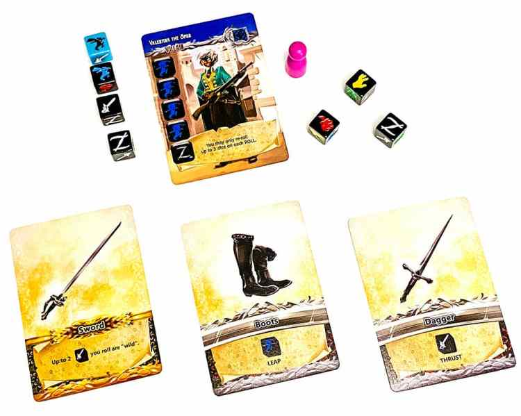 Villain Valentia the Spur. Needs 4 leaps and a Z. Dice show 2 leaps, 1 sword, 1 Z. Cards below turn swords wild, add an extra leap, add an extra sword.