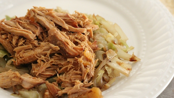 Paleo Pineapple Kahlua Pork with Butter Braised Cabbage and Onions Recipe from The Family That Heals Together