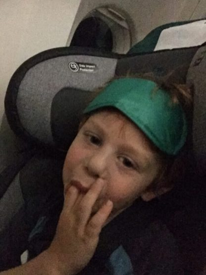 Jacob resting with his Aer Lingus eye mask